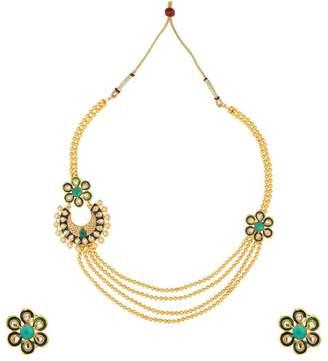 DANCING GIRL Kundans jewellery sets kundan stone necklace set bridal jewelleryARNE0005BG