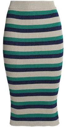 Baum und Pferdgarten Metallic Striped Ribbed-knit Midi Skirt