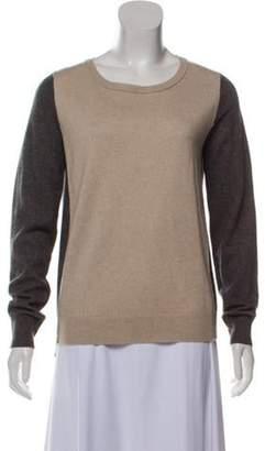 360 Cashmere Wool Colorblock Sweater Beige Wool Colorblock Sweater