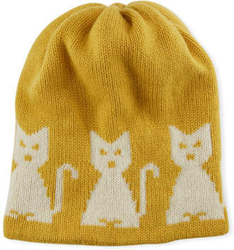 Moncler Wool-Cashmere Cat-Intarsia Beanie Hat