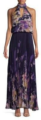 Xscape Evenings Pleated Keyhole Halter Maxi Dress