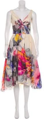 Lela Rose Linen and Silk-Blend Dress