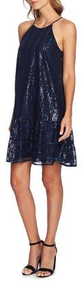 CeCe Sequin Ruffle Trim Dress