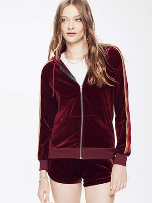 Aviator Nation Classic Velvet Zip Hoodie - Wine