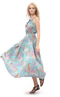 Dilanni Women Casual Tea Longth Dress Fit&Floral Print Sleeveless Prom Dresses