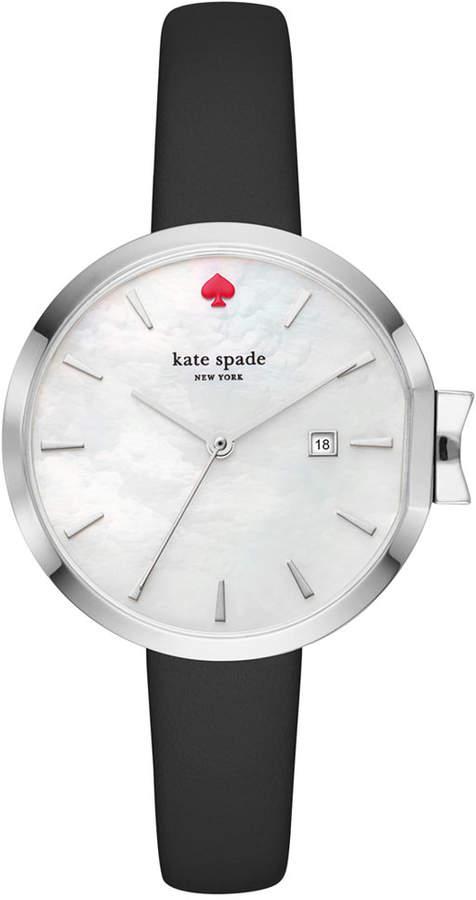 Kate Spadekate spade new york Women's Park Row Black Leather Strap Watch 34mm KSW1269