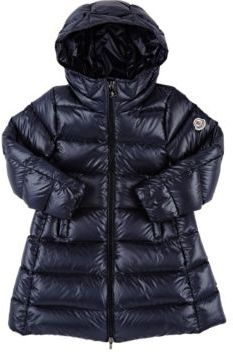 Moncler Women's Down-Quilted Suyen Long Coat-NAVY $620 thestylecure.com