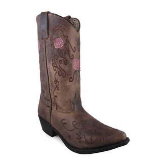 SMOKY MOUNTAIN Smoky Mountain Women's Rosette 11 Oil Distress Leather Cowboy Boot