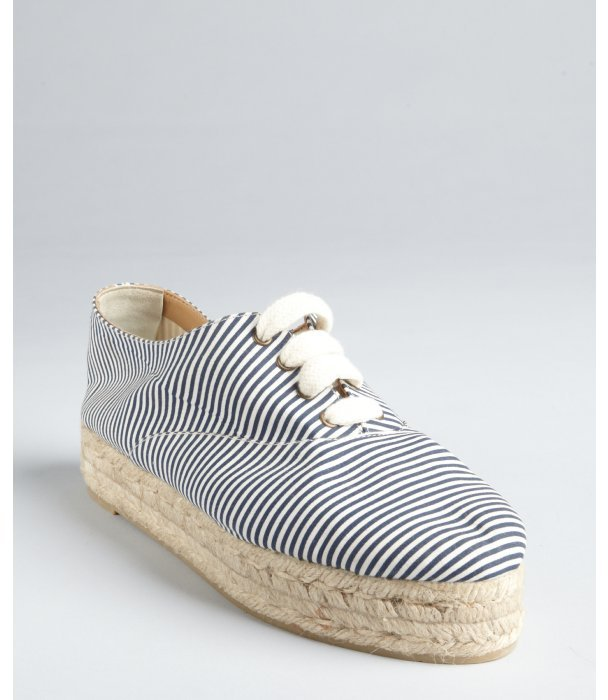 Castaner navy and white striped canvas and jute 'Persi' flatform tennis shoes