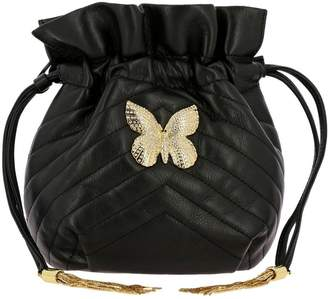 Twin-Set TWIN SET Mini Bag Mini Bucket Bag In Quilted Leather With Strass Butterfly