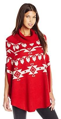 Derek Heart Junior's Aztec Jacquard Cowl Neck Poncho Sweater