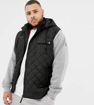 Duke King Size hooded quilted jacket with jersey sleeves