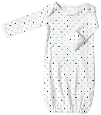 Swaddle Designs Baby Infant Cotton Gown with Mitten Foldover Cuffs, Tiny Triangles, Blue, Newborn