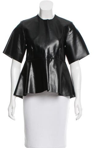 CelineCéline Leather Short Sleeve Top