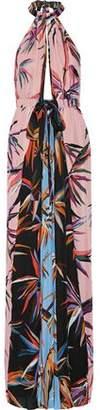 Emilio Pucci Printed Silk Crepe De Chine Halterneck Maxi Dress