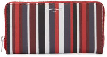 Balenciaga Balenciaga Papier Striped Continental Wallet, Red