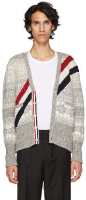 Thom Browne Grey and White Diagonal Stripe Fair Isle Jacquard Cardigan