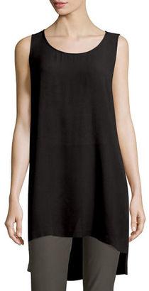 Eileen Fisher Split-Hem Silk Georgette Tunic $248 thestylecure.com
