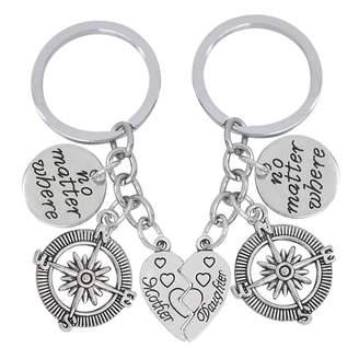 Love Dream 2 Pcs No Matter Where Compass Broken Heart Pendant Mother Daughter Keychain Set