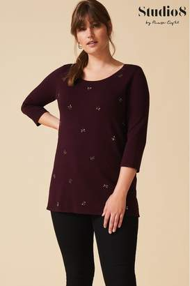 Studio 8 Womens Red Danielle Dragonfly Knit Top - Red