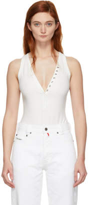Alexander Wang White Compact Jersey Snaps Bodysuit