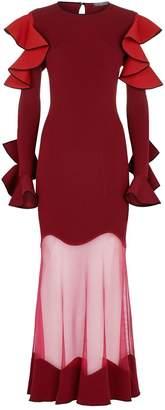 Alexander McQueen Ruffled Sheer Panel Maxi Dress