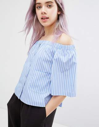Monki 3/4 Sleeve Striped Bardot Top