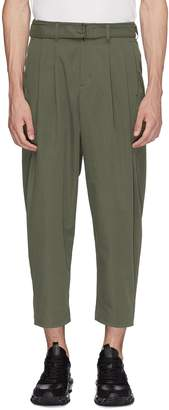 Attachment Belted pleated twill pants