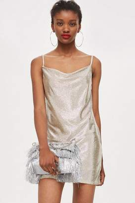 Topshop Foil cowl mini dress