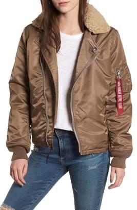 Alpha Industries B-15 Removable Genuine Shearling Collar Flight Jacket