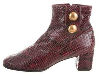Marc Jacobs Snakeskin Square-Toe Ankle Boots