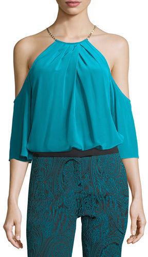 Trina Turk Halter Cold-Shoulder Silk Top w/ Hardware