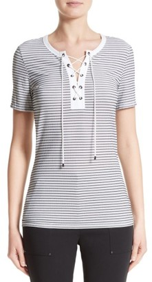 Women's St. John Collection Mesh Stripe Jersey Lace-Up Tee $345 thestylecure.com