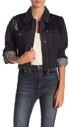 LE LIS Sequin Denim Jacket