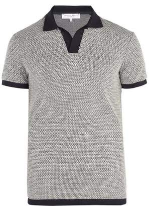 Orlebar Brown Felix Waffle Knit Polo Shirt - Mens - Navy Multi