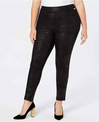 Calvin Klein Plus Size Pull-On Skinny Embossed Pants