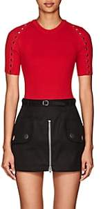 Alexander Wang Women's Snap-Detail Rib-Knit Cotton Sweater - Red