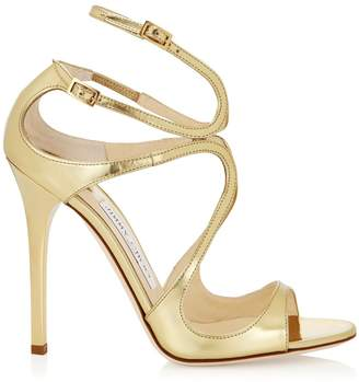 Jimmy Choo LANCE Gold Mirror Leather Sandals