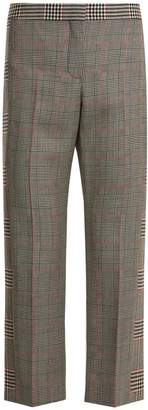 Alexander McQueen Mid-rise Prince of Wales-checked cropped trousers