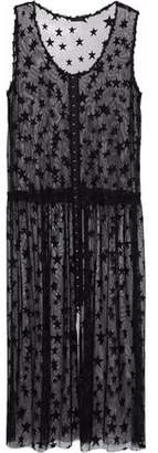 Anna Sui Embroidered Mesh Midi Dress