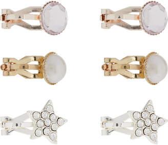 Monsoon 3x Sparkle Stone Clip On Earrings