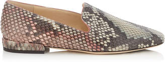 Jimmy Choo JAIDA FLAT Rosewood Mix Painted Desert Python Square Toe Slippers