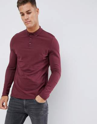 Asos DESIGN long sleeve polo in pique with button down collar in red