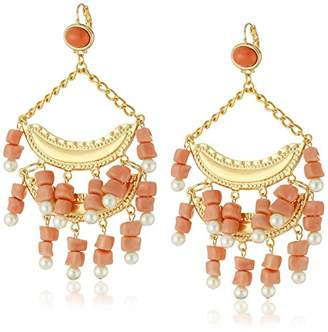 Kenneth Jay Lane 2 Tier and Pearl Wire Top Drop Earrings