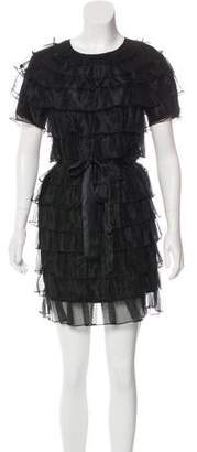 Co Silk Ruffle-Trimmed Dress w/ Tags