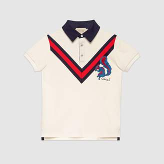 Gucci Children's jersey polo with squirrel