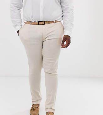 Asos Design DESIGN Plus wedding super skinny suit trousers in stone linen