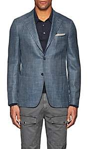 Isaia Men's Cortina Wool-Blend Two-Button Sportcoat - Turquoise