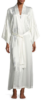 Josie Natori Delphine Embroidered Silk Long Robe, White $995 thestylecure.com