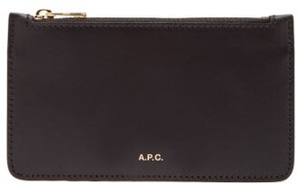 A.P.C. Willow Foiled Logo Leather Wallet - Womens - Black